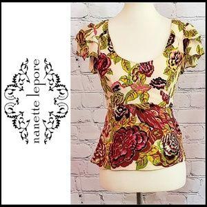 NWOT NANETTE LEPORE Floral Blouse w/Flutter Sleeve